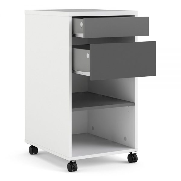 white mobile file cabinet
