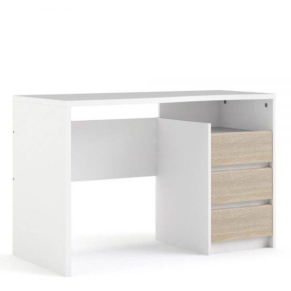 minimalist white home office desk