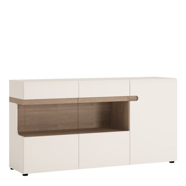 wide chelsea sideboard in white and oak