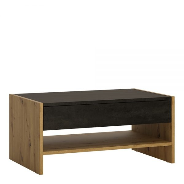 black and oak coffee table