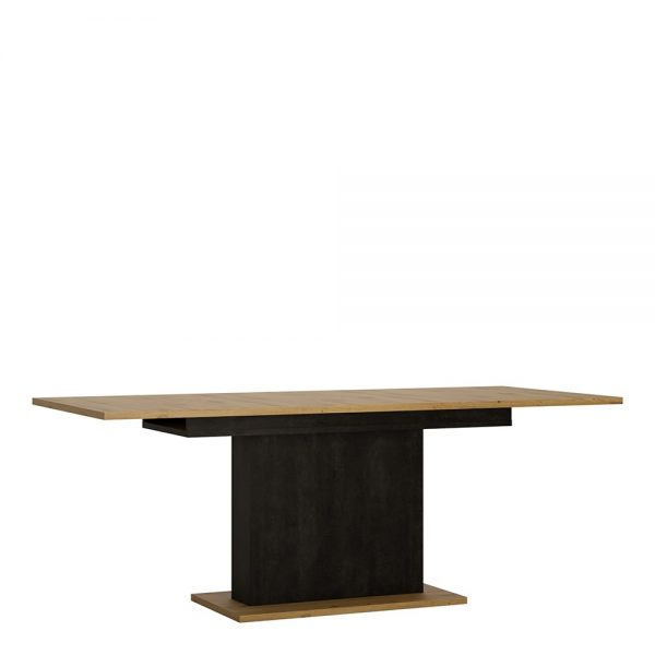 black and oak extendable table