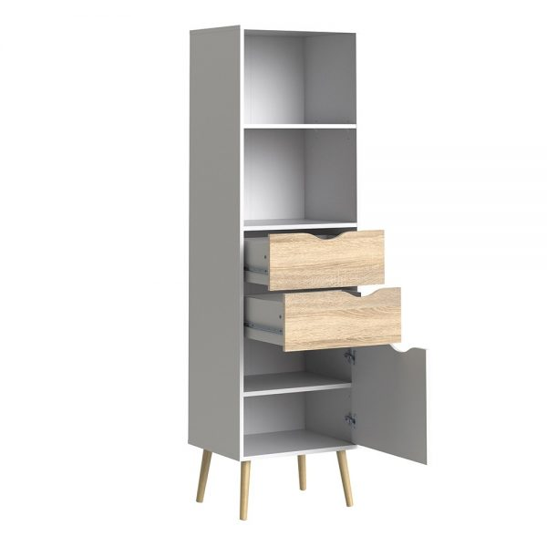 oslo bookcase in white and oak