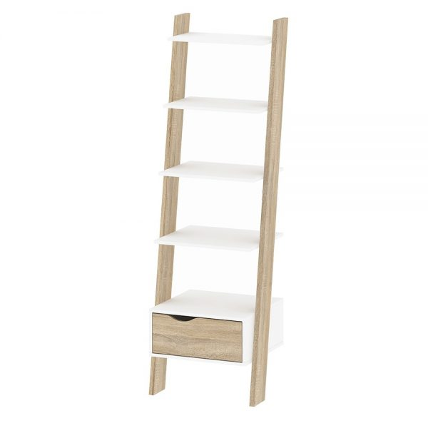 oak leaning bookcase