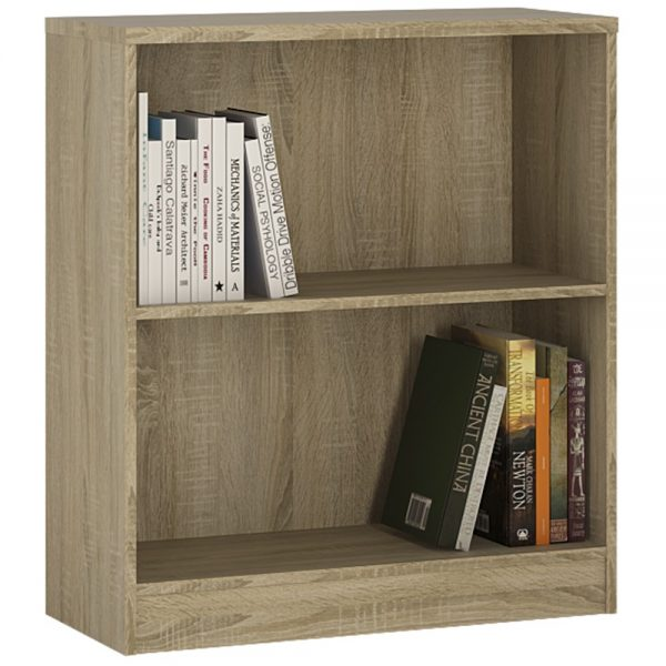 low wide bookcase in oak