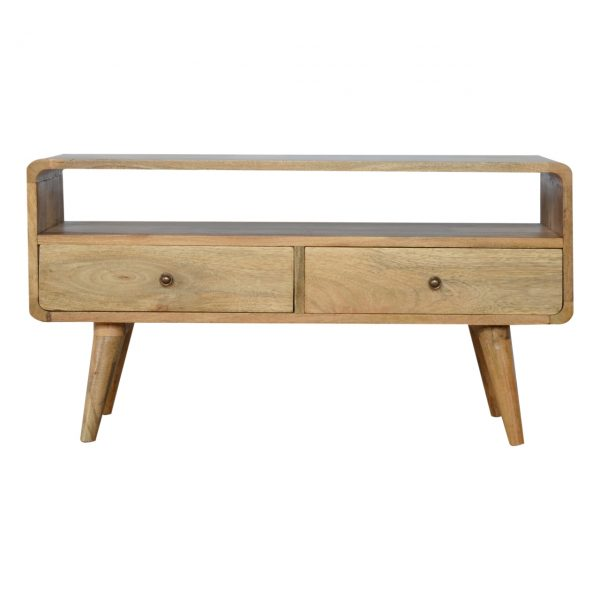 Curved Oak-ish Media Unit
