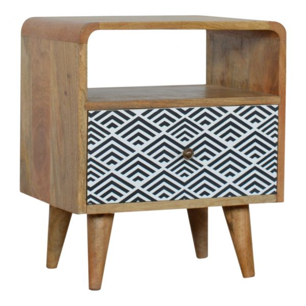 Monochrome Print Bedside with Open Slot