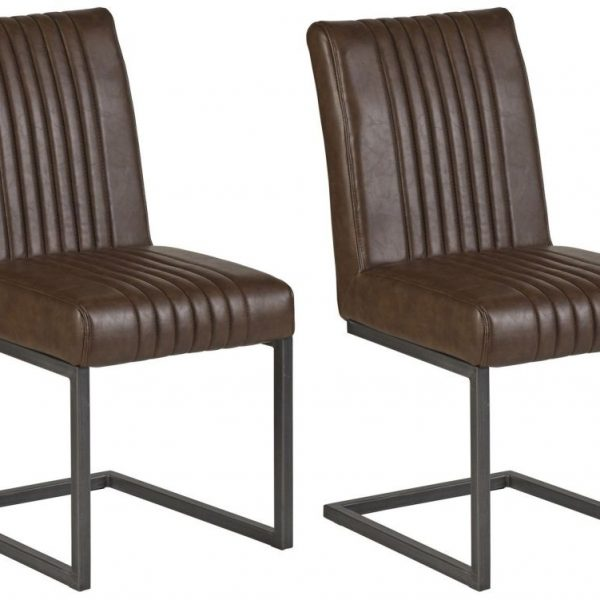 Brown matching Leather Dining Chair (Sold in Pairs)