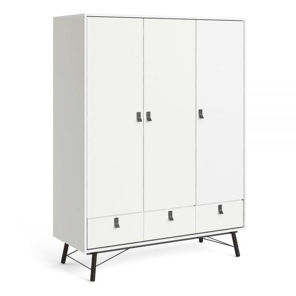 Ry Wardrobe 3 doors + 3 drawers in Matt White