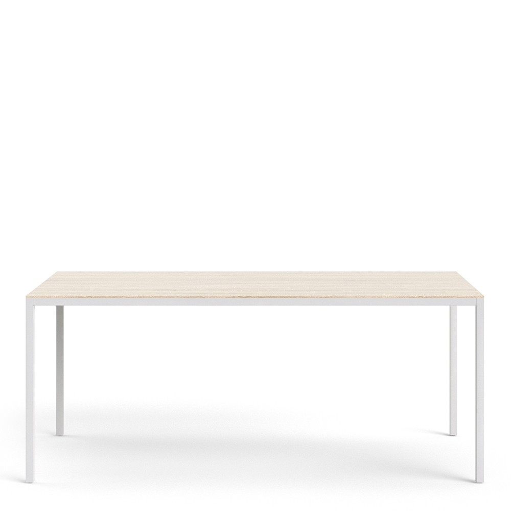 Family Dining Table 180cm Oak Table Top with White Legs
