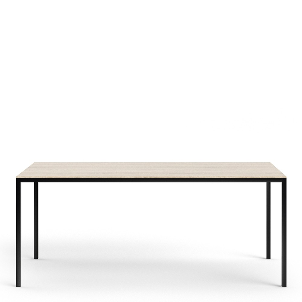 Family Dining Table 180cm Oak Table Top with Black Legs