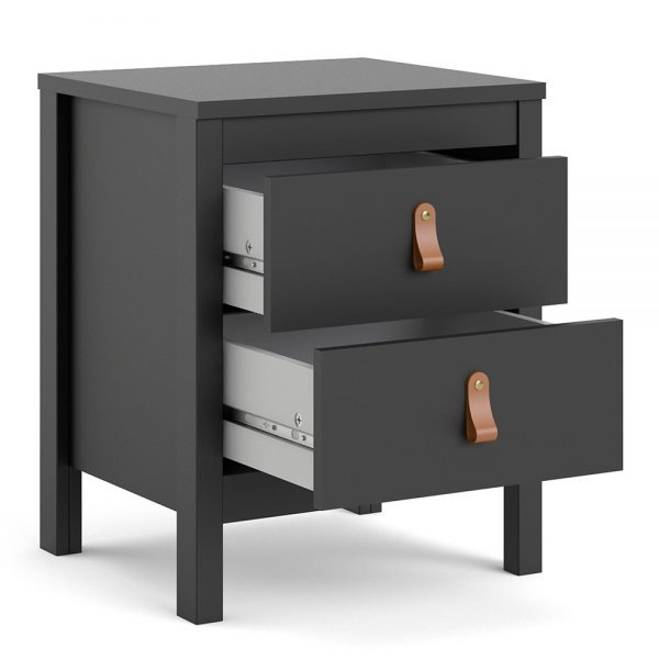 Barcelona Bedside Table 2 drawers in Matt Black
