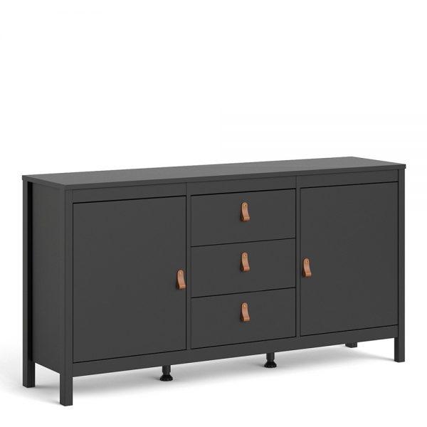 Barcelona Sideboard 2 doors + 3 drawers  in Matt Black
