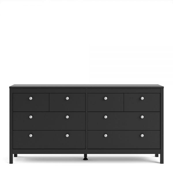 Madrid Double dresser 4+4 drawers in Matt Black