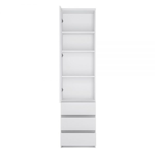 Fribo Tall narrow 1 door 3 drawer cupboard in White