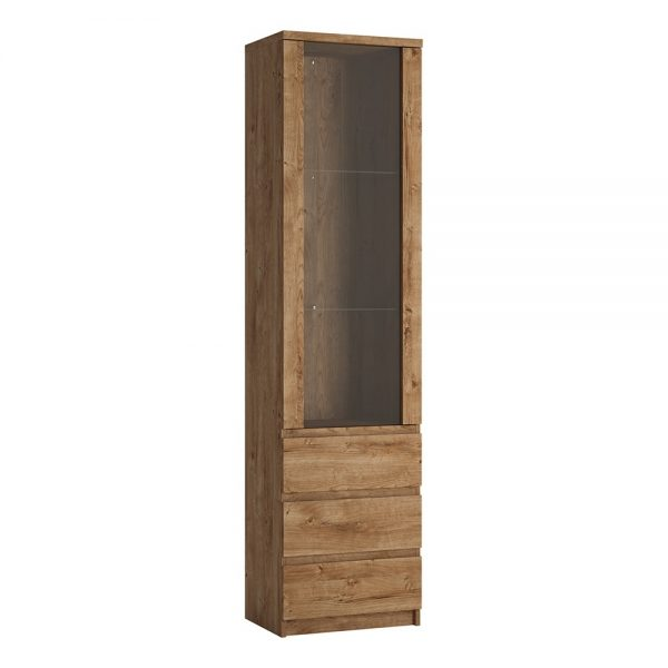 Fribo Tall narrow 1 door 3 drawer glazed display cabinet in Oak