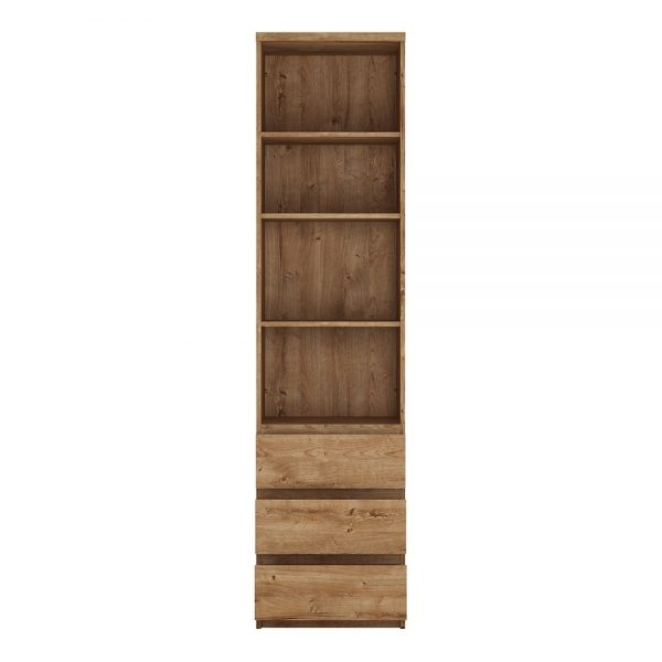 Fribo Tall narrow 3 drawer bookcase in Oak