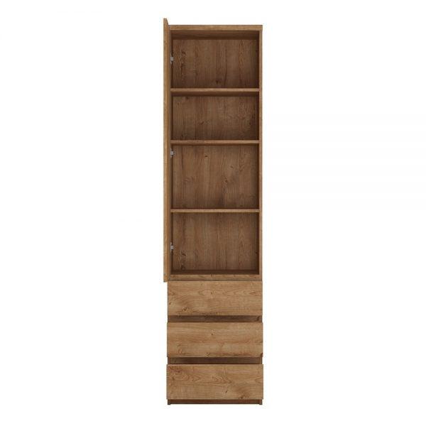 Fribo Tall narrow 1 door 3 drawer cupboard in Oak