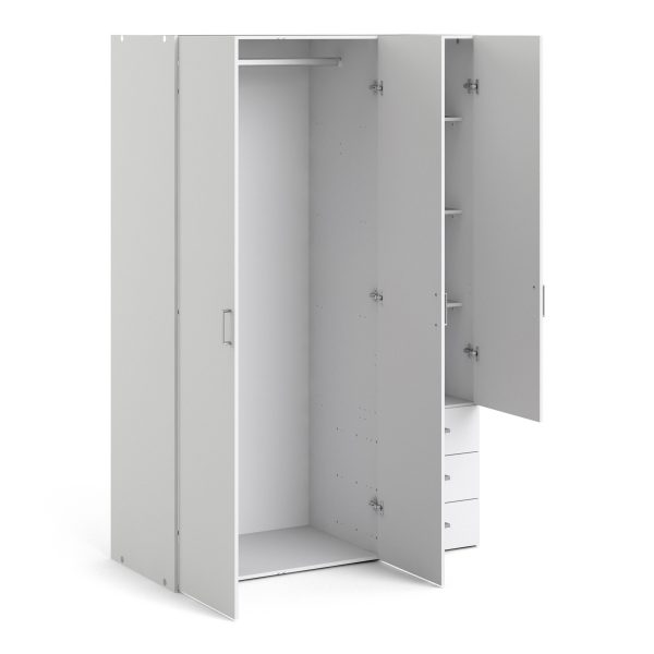 Space Wardrobe with 3 doors + 3 drawers (175) White