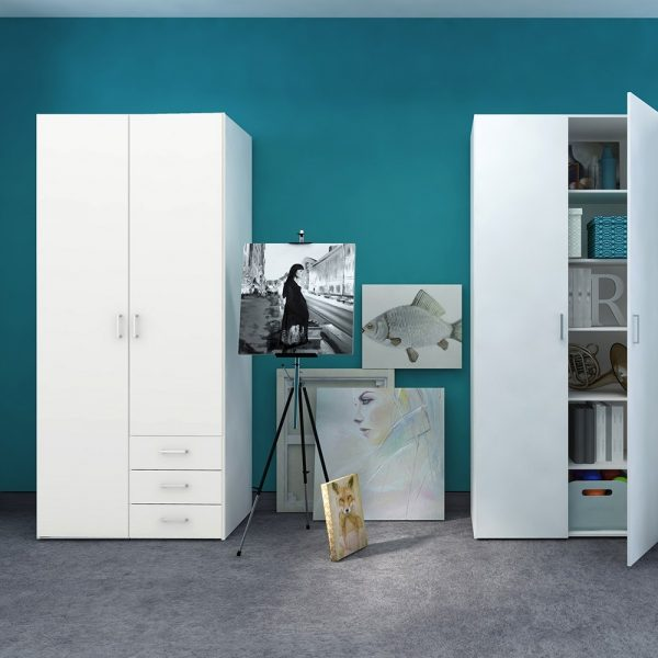 Space Wardrobe - 2 Doors 3 Drawers in White