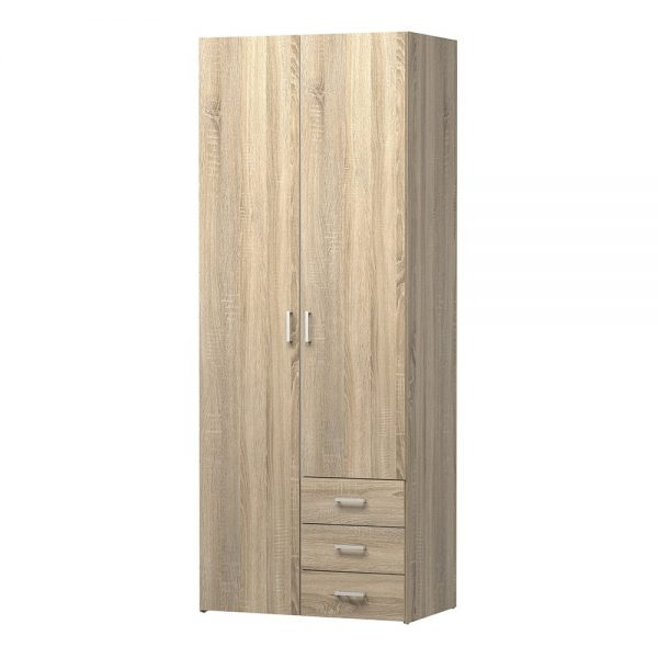 Space Wardrobe - 2 Doors 3 Drawers in Oak