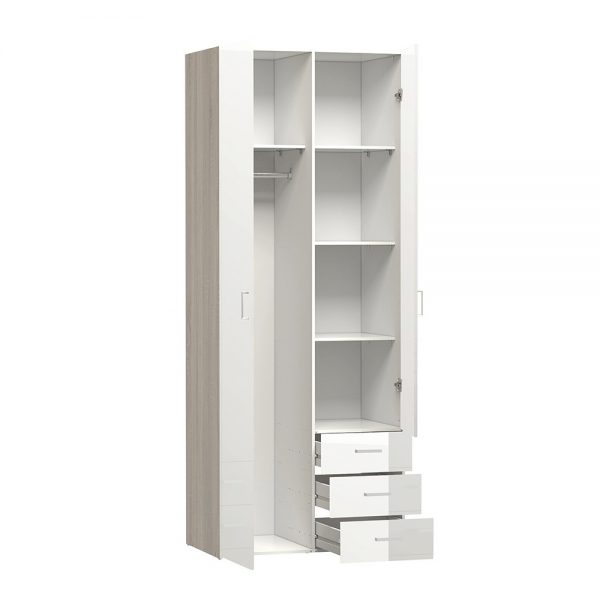 Space Wardrobe - 2 Doors 3 Drawers in Oak with White High Gloss