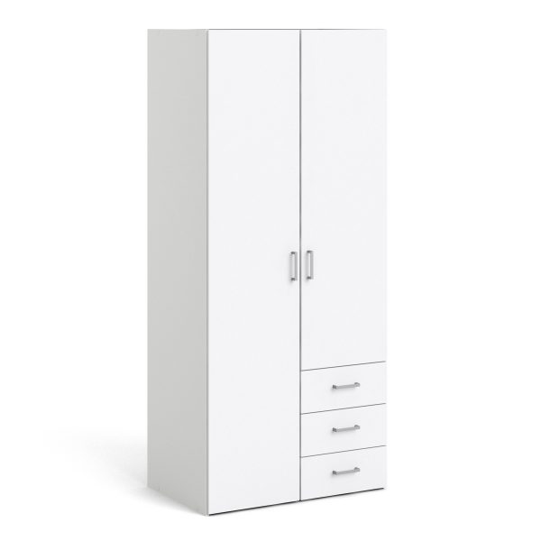 Space Wardrobe with 2 doors + 3 drawers (175) White