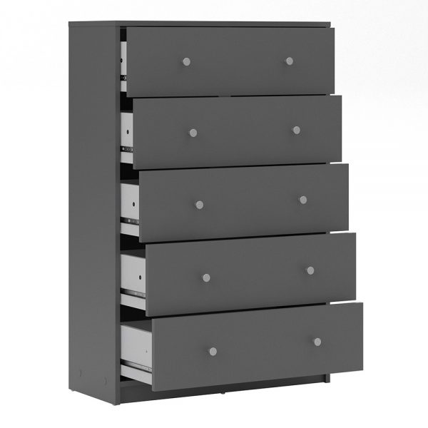 May Chest of 5 Drawers in Grey