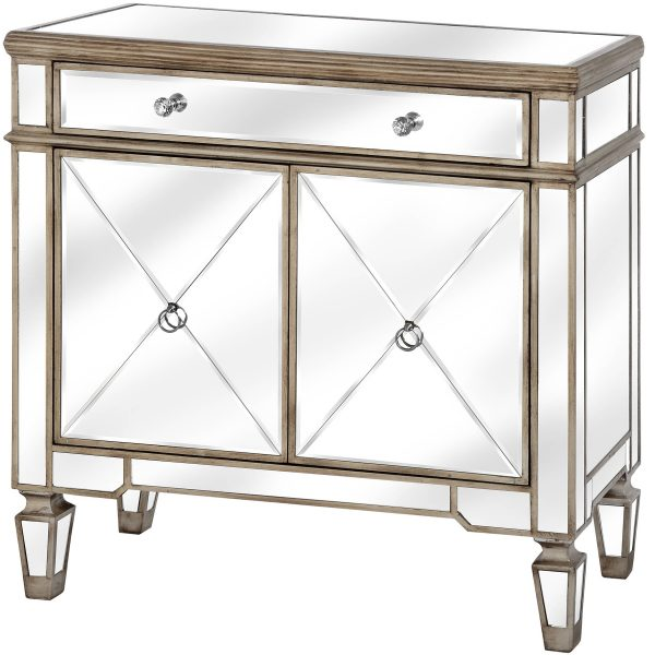 The Belfry Collection One Drawer Two Door Mirrored Cupboard