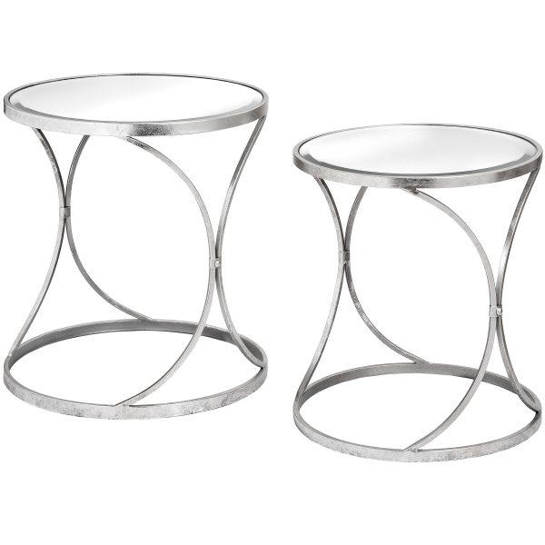 Silver Curved Design Set Of 2 Side Tables