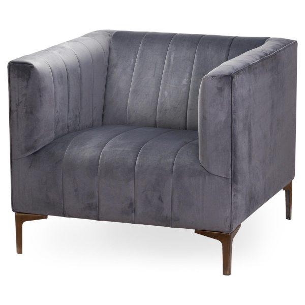 Emperor Grey Velvet Arm Chair
