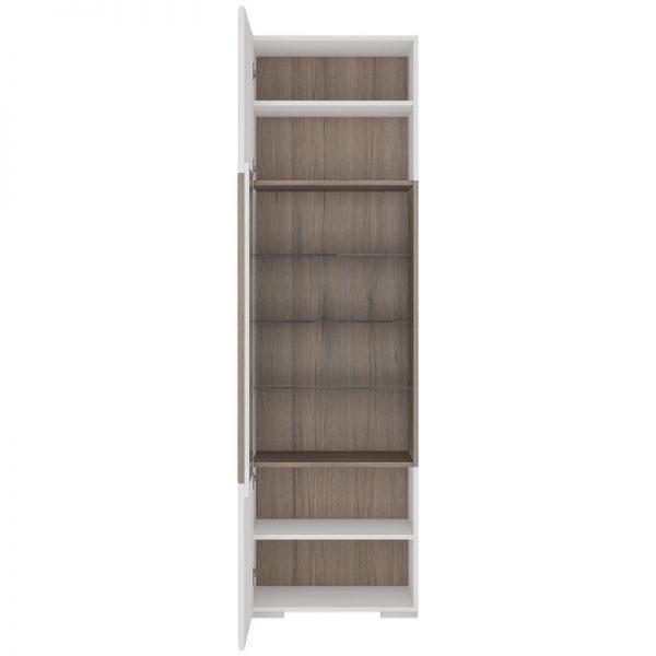 Toronto Tall narrow glazed display cabinet with internal shelves (inc Plexi Lighting)