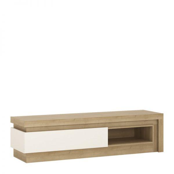 Lyon 1 drawer TV cabinet with open shelf (including LED lighting) Riviera Oak