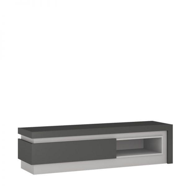 Lyon 1 drawer TV cabinet with open shelf (including LED lighting) light grey