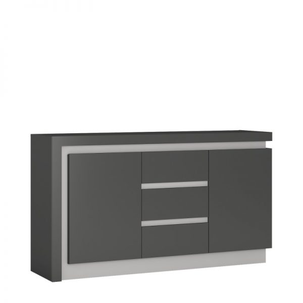 Lyon 2 door 3 drawer sideboard (including LED lighting) light grey