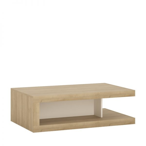 Lyon Designer coffee table on wheels Riviera Oak