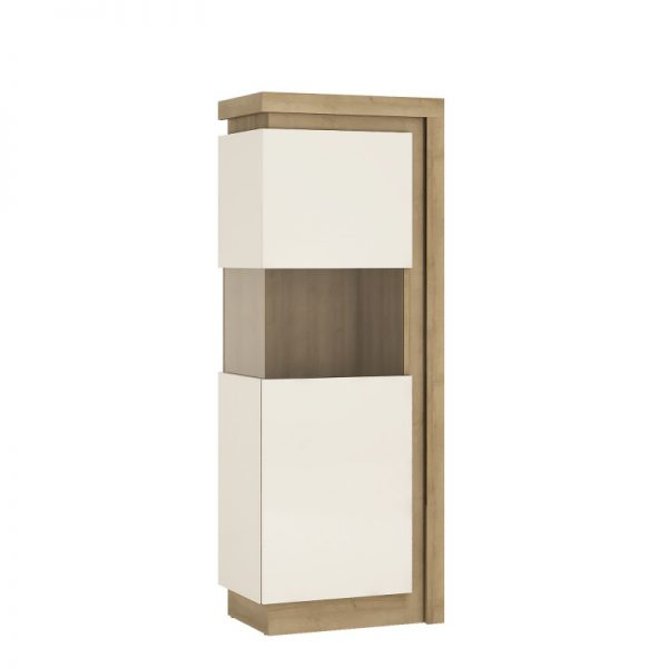 Lyon Narrow display cabinet (LHD) 164,1cm high (including LED lighting) Riviera Oak
