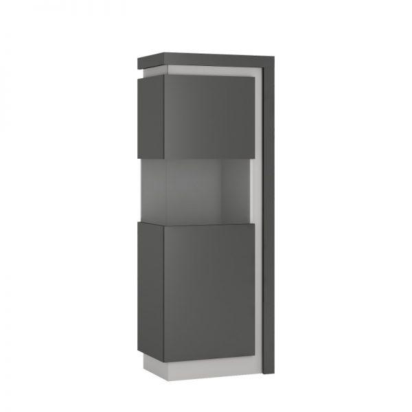 Lyon Narrow display cabinet (LHD) 164,1cm high (including LED lighting) light grey