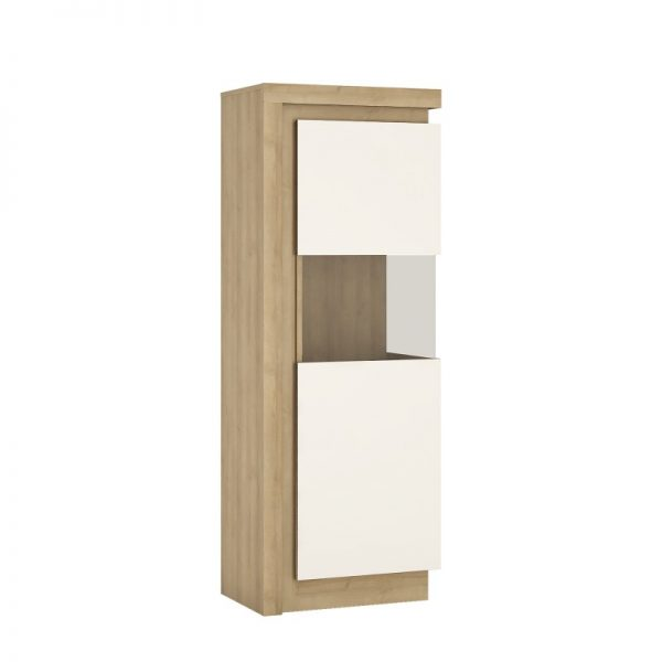 Lyon Narrow display cabinet (RHD) 164.1cm high (including LED lighting) Riviera Oak