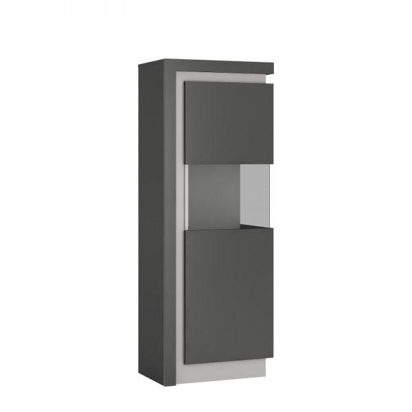 Lyon Narrow display cabinet (RHD) 164.1cm high (including LED lighting) light grey
