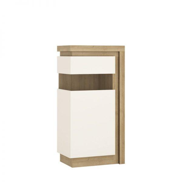 Lyon Narrow display cabinet (LHD) 123.6cm high (including LED lighting) Riviera Oak