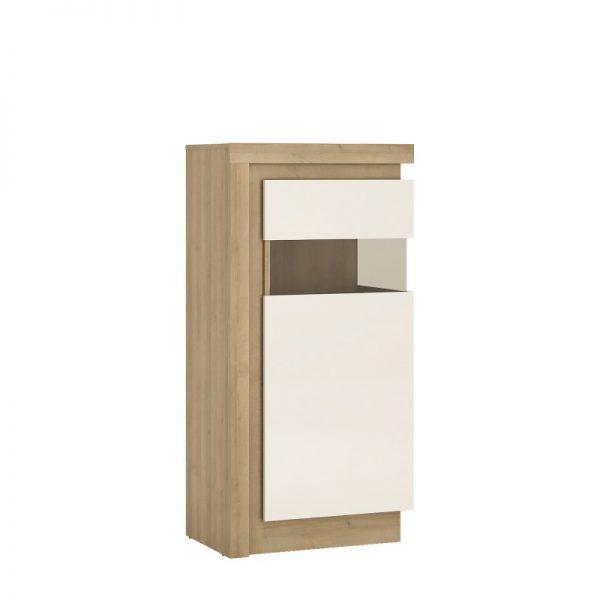 Lyon Narrow display cabinet (RHD) 123.6cm high (including LED lighting) Riviera Oak