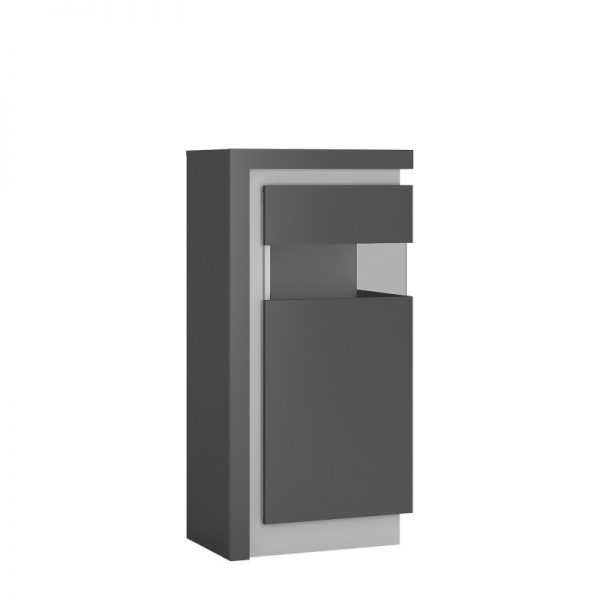 Lyon Narrow display cabinet (RHD) 123.6cm high (including LED lighting) light grey