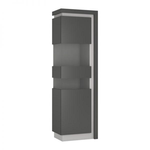 Lyon Tall narrow display cabinet (LHD) (including LED lighting) light grey