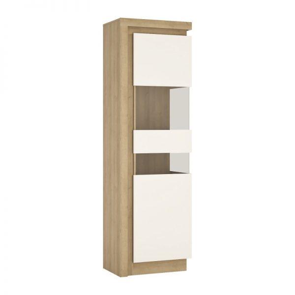 Lyon Tall narrow display cabinet (RHD) (including LED lighting) Riviera Oak
