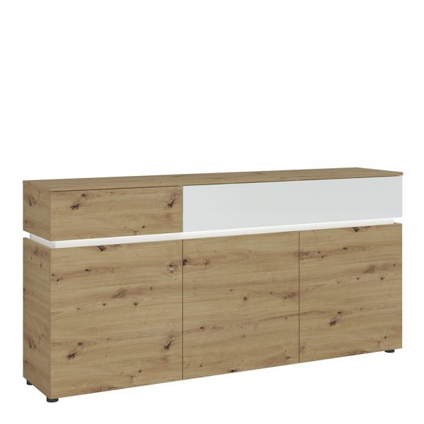 Luci 3 door 2 drawer sideboard (including LED lighting) in White and Oak