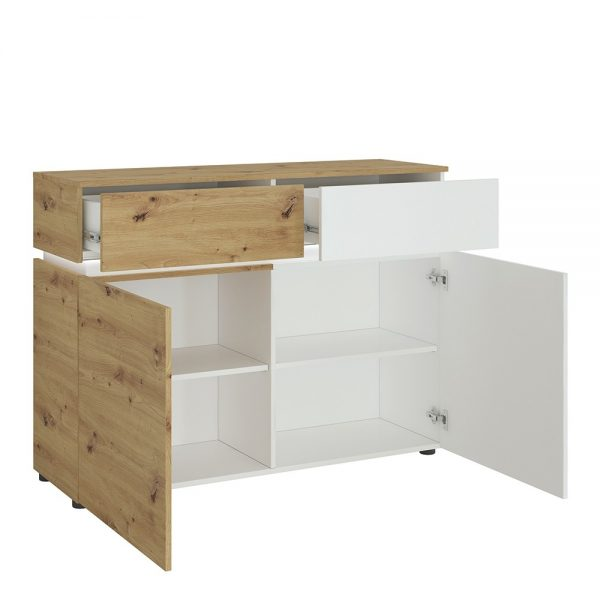 Luci 2 door 2 drawer cabinet (including LED lighting) in White and Oak