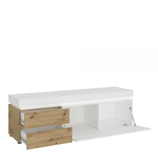 Luci 1 door 2 drawer 180 cm wide TV unit (including LED lighting) in White and Oak