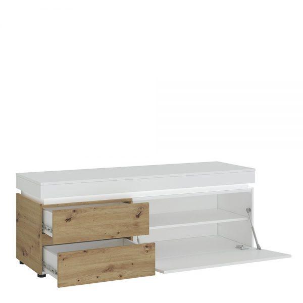 Luci 1 door 2 drawer 150 cm TV unit (including LED lighting) in White and Oak