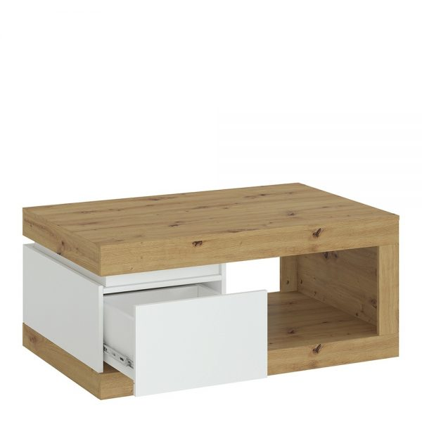Luci 1 drawer coffee table in White and Oak