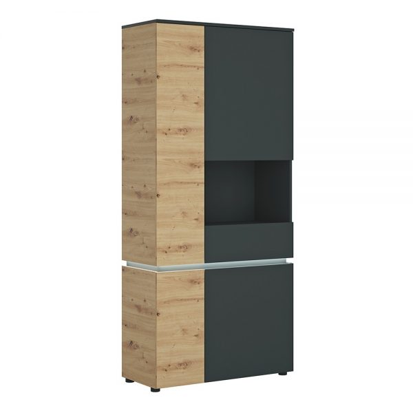 Luci 4 door tall display cabinet RH (including LED lighting) in Platinum and Oak